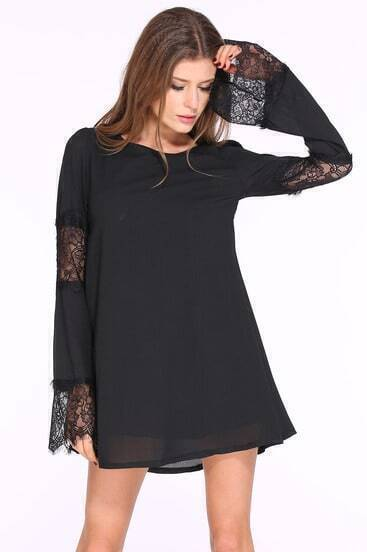 Black Long Sleeve Contrast Lace Loose Dress