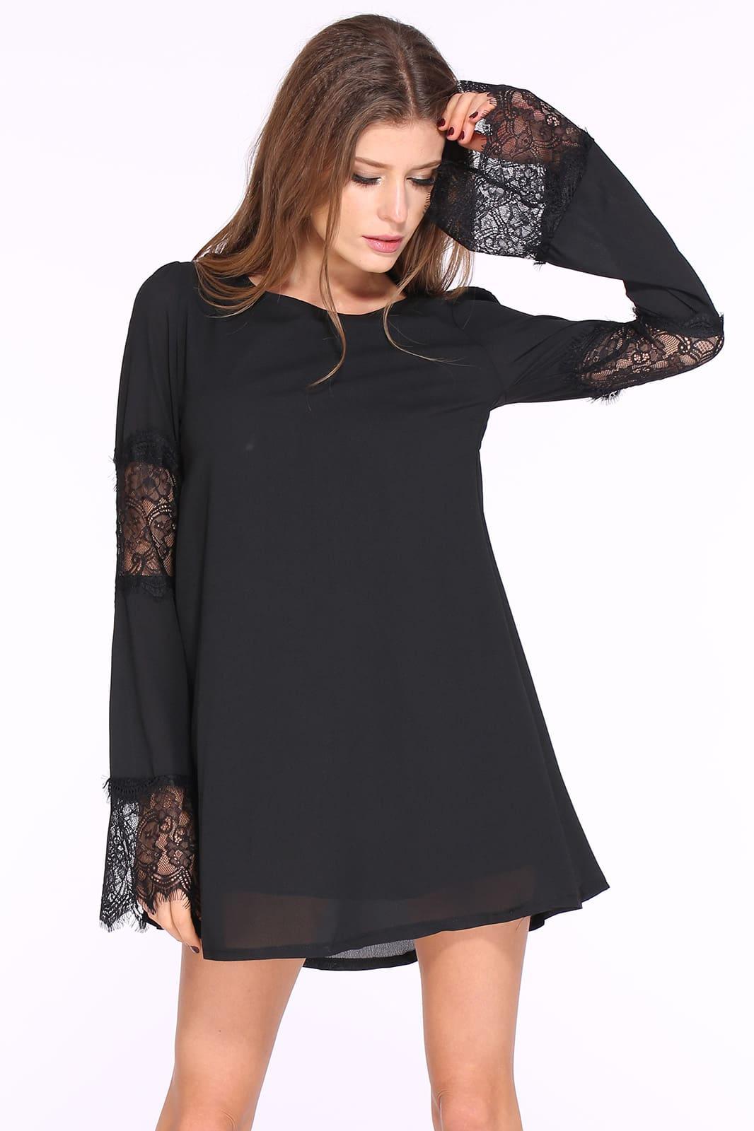 Black Long Sleeve Contrast Lace Loose Dress -SheIn(Sheinside)