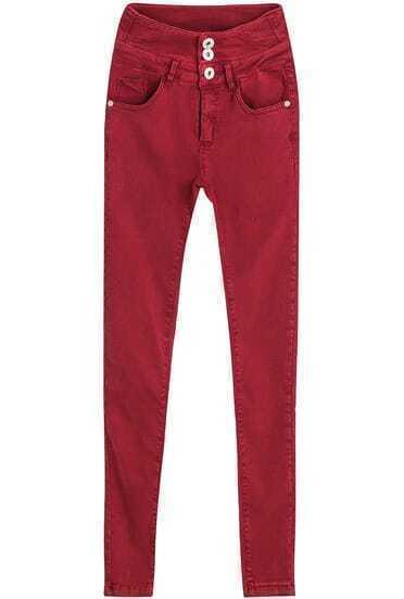 Red High Waist Buttons Denim Pant
