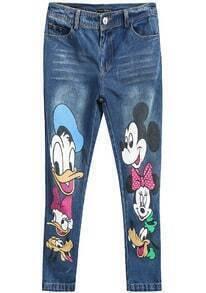 Blue Disney Cartoon Print Denim Pant