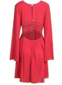 Red Long Sleeve Lace Cut Out Shift Dress