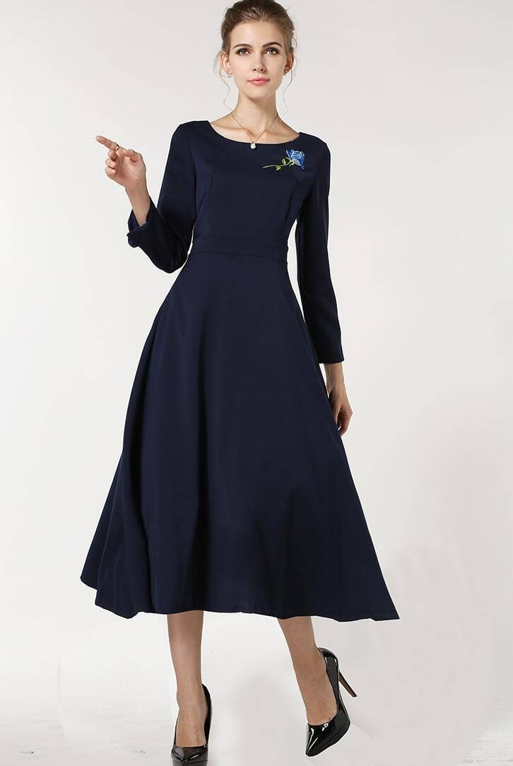 Navy Long Sleeve Vintage Embroidered Dress