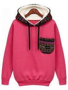 Red Hooded Long Sleeve Pocket Sweatshirt