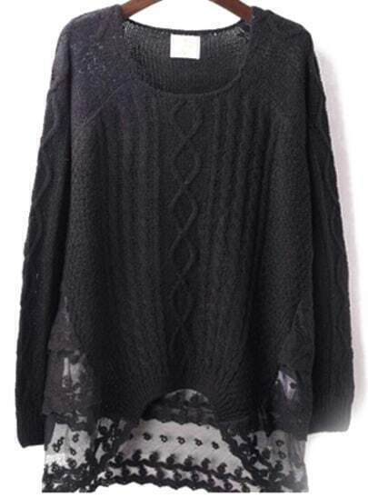 Black Long Sleeve Contrast Lace Knit Sweater
