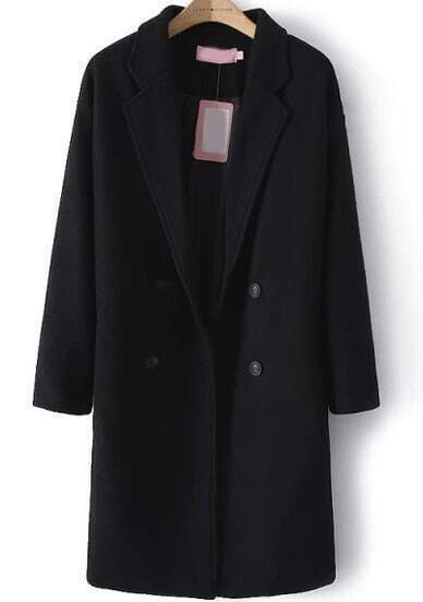 Black Long Sleeve Buttons Woolen Coat