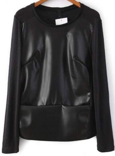 Black Long Sleeve Contrast Knit PU Blouse