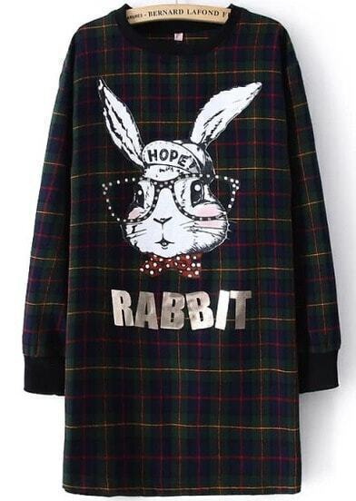 Green Blue Long Sleeve Plaid RABBIT Print Dress