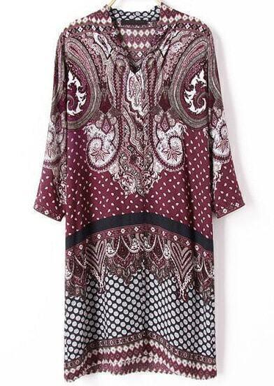 Red Long Sleeve Vintage Cashews Print Dress