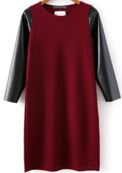 Red Contrast PU Leather Knit Bodycon Dress