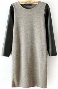 Grey Contrast PU Leather Knit Bodycon Dress