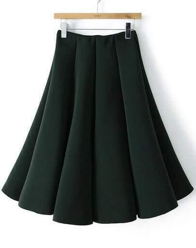 green pleated flare skirt shein sheinside
