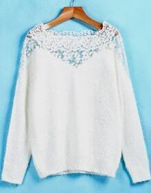 White Contrast Lace Long Sleeve Mohair Sweater