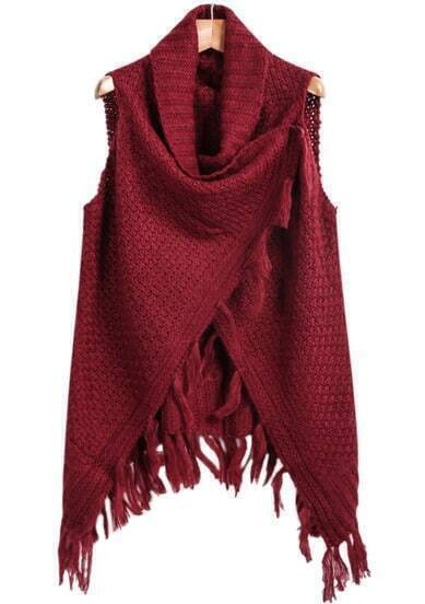 Wine Red Sleeveless Tassel Knit Cape Sweater