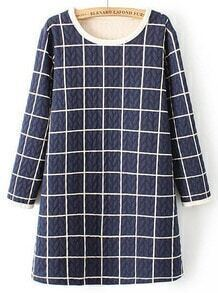 Blue Long Sleeve Plaid Leaves Pattern Dress