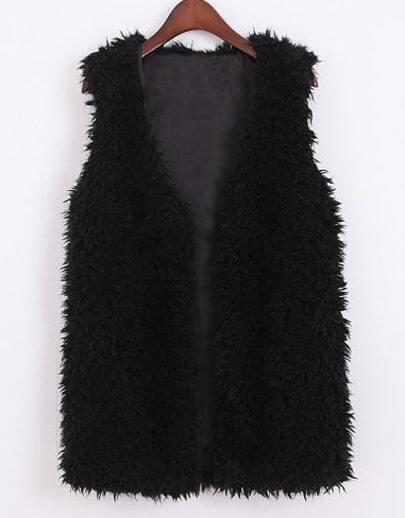 Black V Neck Sleeveless Fur Vest