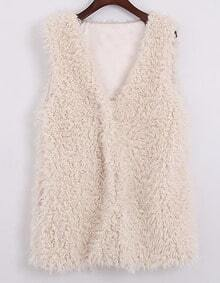 White V Neck Sleeveless Fur Vest