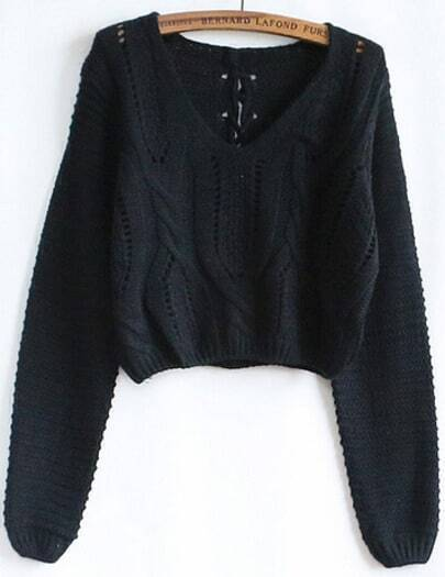 Black Hollow Crop Cable Knit Sweater