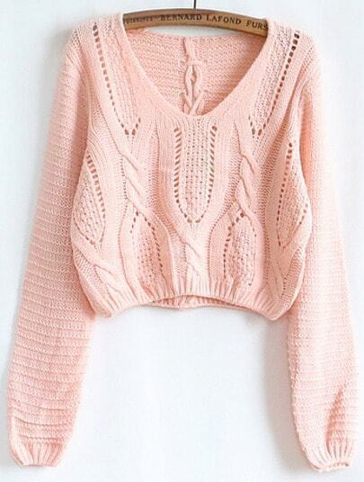 Pink Hollow Crop Cable Knit Sweater