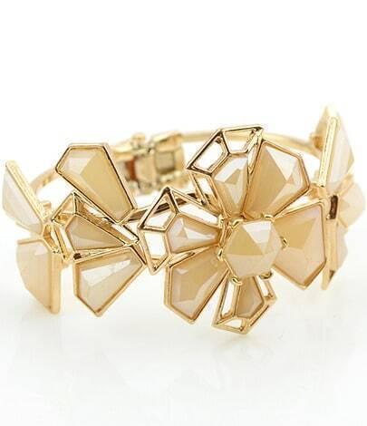 Apricot Gemstone Gold Hollow Flower Bracelet