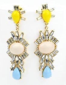 Apricot Gemstone Gold Drop Earrings