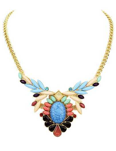 Multicolor Drop Gemstone Gold Chain Necklace