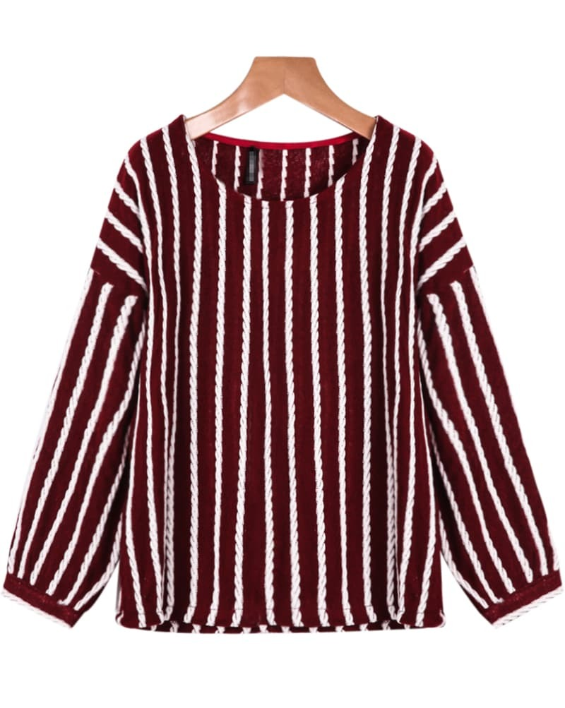 Knit Vertical Stripes Pattern : Red long sleeve vertical stripe knit sweater shein sheinside