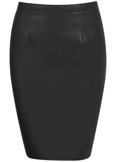 Black Zipper Bodycon PU Skirt