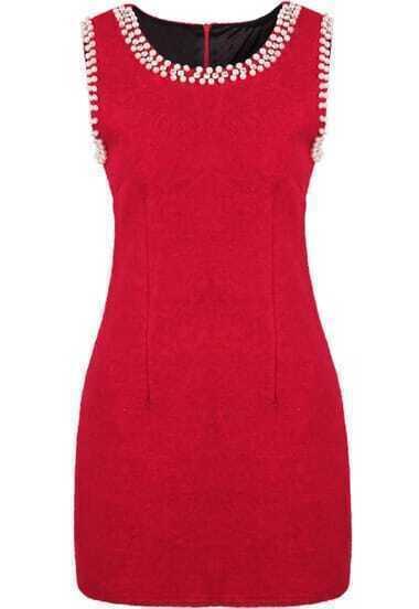 Red Sleeveless Bead Slim Woolen Dress