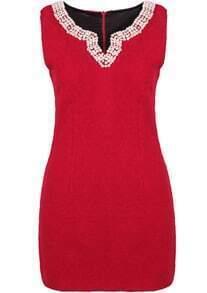 Red V Neck Sleeveless Bead Woolen Dress