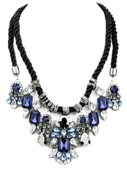 White Blue Gemstone Tassel Necklace