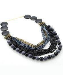 Black Multilayers Bead Necklace