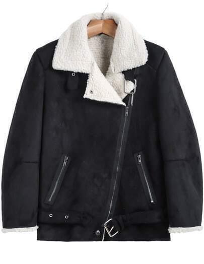 Black Lapel Long Sleeve Oblique Zipper Coat