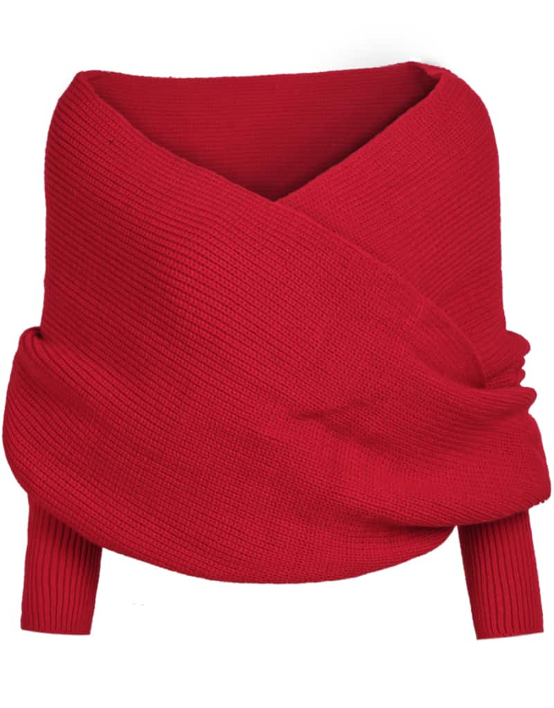 Red Off the Shoulder Crop Knit Sweater -SheIn(Sheinside)