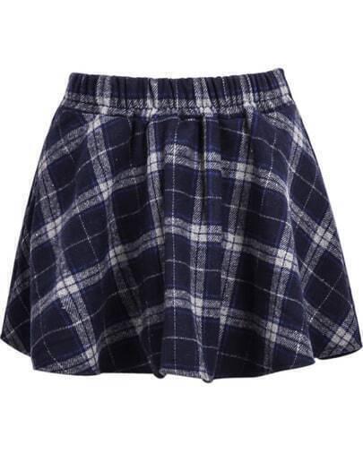 Blue High Waist Plaid Flare Skirt