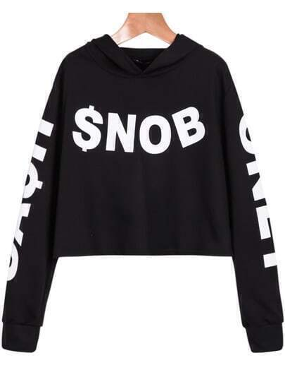 Black Long Sleeve SNOB Print Crop Sweatshirt