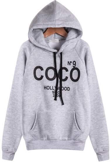 Grey Hooded Long Sleeve COCO Print Sweatshirt