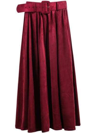Red Belt Pleated Skirt