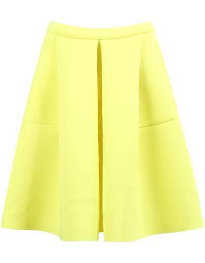 Yellow High Waist Flare Skirt