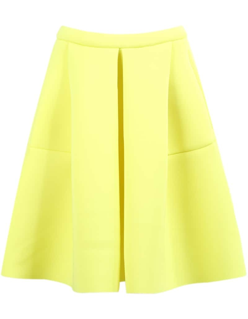 yellow high waist flare skirt shein sheinside