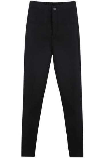 Black Elastic Waist Pockets Pant