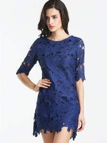 Navy Short Sleeve Crochet Lace Dress