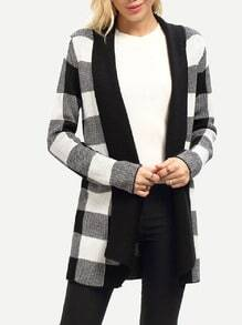 White Black Plaid Cardigan Sweater