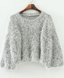 Jersey suelto lanudo manga larga-gris