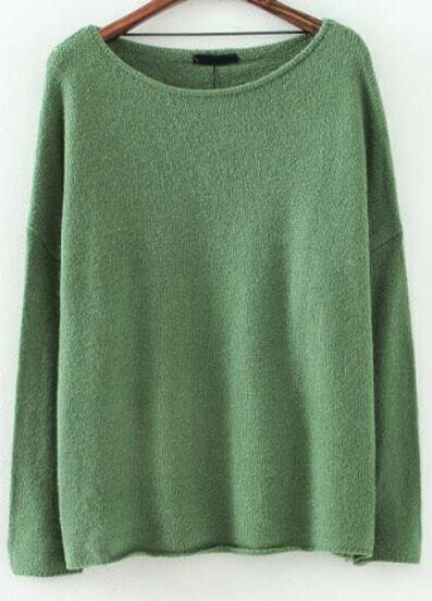 Green Batwing Long Sleeve Knit Sweater