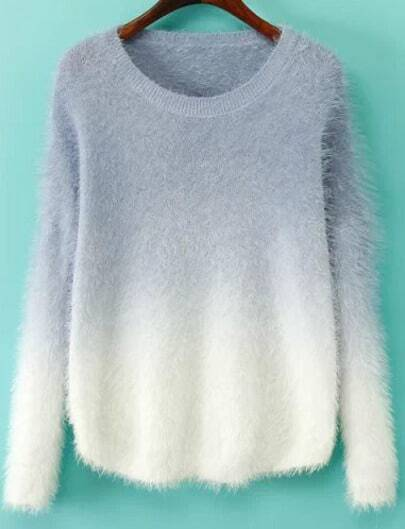 Purple Ombre Long Sleeve Mohair Sweater -SheIn(Sheinside)