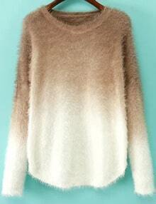 Coffee Ombre Long Sleeve Mohair Sweater