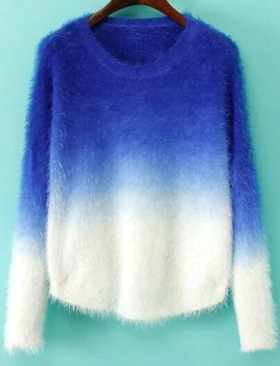 Blue Ombre Long Sleeve Mohair Sweater