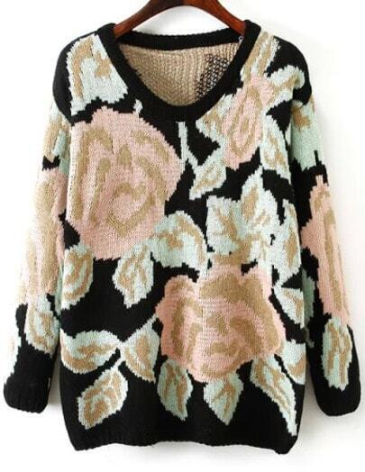 Black Long Sleeve Rose Pattern Knit Sweater
