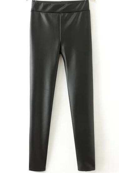 Black Slim PU Leather Pant