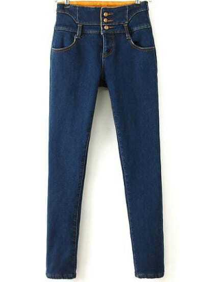 Blue High Waist Pockets Thick Denim Pant